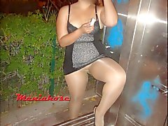 GF flashing pantyhose streets mexicana