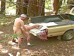 Silver daddy and hiker on a pick-up truck