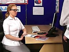 Redhead secretary blows the boss