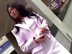 Adorable Japanese Nurse Rubs Boyfriend's Hard Penis