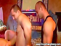 Crazy gay hardcore gangbang in night club with music blaring