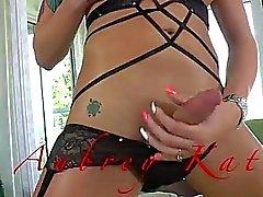 Tattooed tranny babe Aubrey Kate jizzes