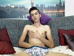 Teen twink masturbating at home