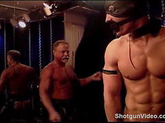 Masked muscle stud in bondage gets a flogging and whipping to his big manly bubble butt.