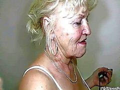 La nonna bionda con grandi tette danza nuda