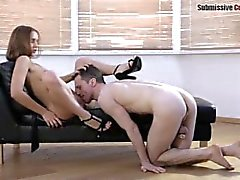 Submissive cuckold watches slutty wife fucking other guy