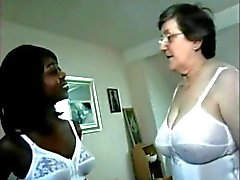 White Mom And Black Adopted Not Daughter Caress Each Other