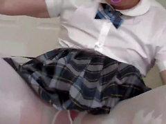 Diapered sissybaby schoolgirl peeing panties gets diapered