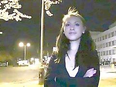 Hot amateur bangs huge dick outdoors at night