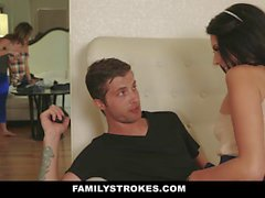 FamilyStrokes Milf Catches StepSiblings Fucking