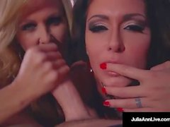 Double BJ & Cum with Hot Mommy Julia Ann & Jessica Jaymes!