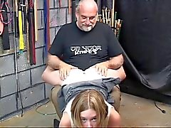 Horny schoolgirl with tattoo gets spanked for the firlst time