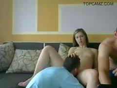 Amateur teen serves two lucky guys