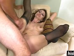 Monster dick stretches a shaved cunt