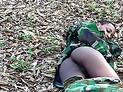 Young gay commando flashes alfresco