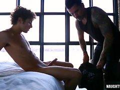 Latin gay flip flop and facial