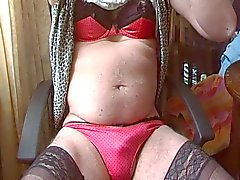 crossdress in red panties