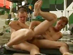 Gay wild hardcore sex in the gym