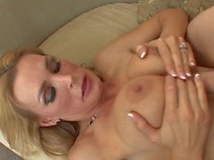Hot blonde with tattoo gets her pussy banged with a big white cock