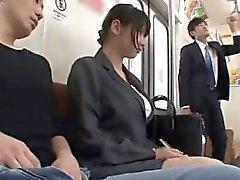 Hana Haruna sucks and rides dicks in bus