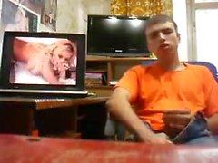 Str8 Russian guy jerking watching porn