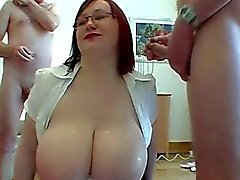 Plump big breasted Scottish readhead in glasses is cum over