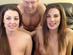 Two lovely hoes FFM threesome on livecam