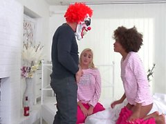 Young smll tits 3some LunaDaisy and the evil clown