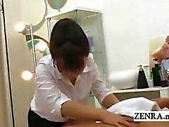 Subtitled CFNM Japanese masseuse ends up giving handjob