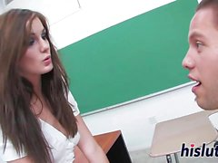 Gorgeous schoolgirl has her pussy hammered hard