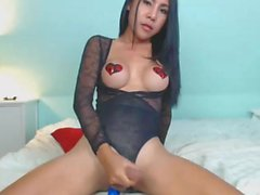 Sugar Tits Shemale Jerks Her Hard Cock