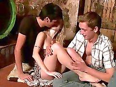 Drunk teens having threesome
