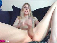Blonde femboy huge dick feet toying