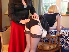 Naughty smoking blonde TGirl maid has tight pert ass spanked for hot kinky punishment