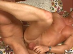 Muscled bodied brunette married guy Josh Griffin gets nailed hard by sexy g