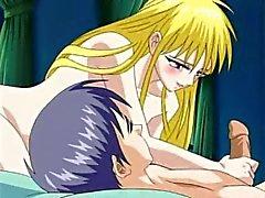Seksikäs nuori blonde neito tekee hänen turvonnut kullia räjähtämään hänen