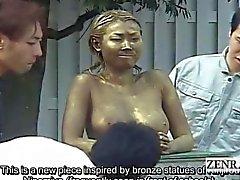 Alaotsikon julkisten japanilainen puiston statue pila peitelty sukupuoleen