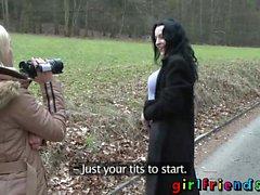 Girlfriends Euro lesbian babes licking sucking fingering