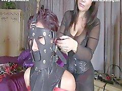 Domina fesselt geile Sklavin in Hogtied mit Ballgag und monohandschuh