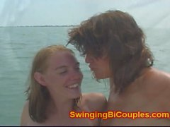 Bi Milf and Teen girl on Naked Fishing boat