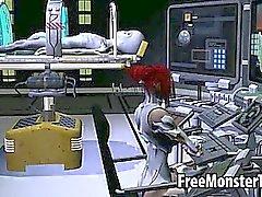 Gustoso 3D di bambino di redhead fa scopare da uno straniero