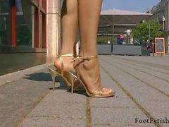 Close Up Veiny Feet In Golden Stiletto On Street - LoversHeels@Pornhub