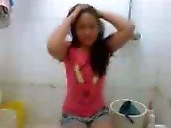 Nezha arendo Filipino flicka hårt knulla in bathroom