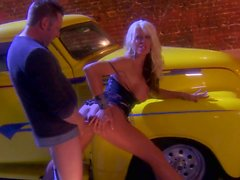 Blonde slut Michelle Mclaren gets screwed beside a car