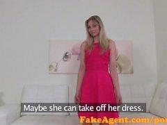 FakeAgent Sexy blonde waitress fucked hard in office