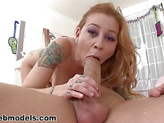Petite redhead with big tits deepthroats a hard cock