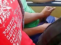 playing with his cock in the bus