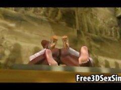 Hete 3D brunette babe wordt geneukt door ebony hunk