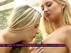 Lena och Claire rejäla dockor lesbisk slickar