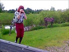 Tammy smoking and crossdressing in public